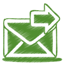 128x128px size png icon of green mail send