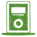 128x128px size png icon of green mp3 player