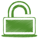 128x128px size png icon of green unlock