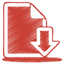 128x128px size png icon of red document download