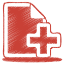 128x128px size png icon of red document plus