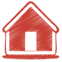 128x128px size png icon of red home