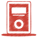 128x128px size png icon of red mp3 player