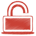 128x128px size png icon of red unlock