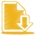 128x128px size png icon of yellow document download