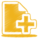 128x128px size png icon of yellow document plus