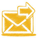 128x128px size png icon of yellow mail send