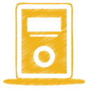 128x128px size png icon of yellow mp3 player