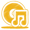 128x128px size png icon of yellow music cd