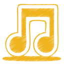 128x128px size png icon of yellow music