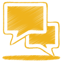 128x128px size png icon of yellow talk