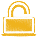 128x128px size png icon of yellow unlock