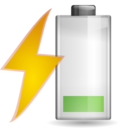 128x128px size png icon of Status battery charging caution