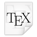 128x128px size png icon of Mimetypes text x tex