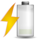 128x128px size png icon of Status battery charging low