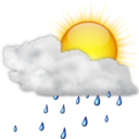 128x128px size png icon of Status weather showers scattered day