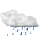 128x128px size png icon of Status weather showers scattered
