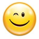 128x128px size png icon of emotes face wink