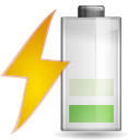 128x128px size png icon of status battery charging 040