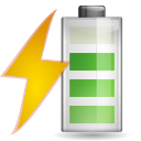 128x128px size png icon of status battery charging 080