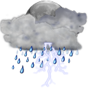 128x128px size png icon of status weather storm night