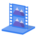 128x128px size png icon of System library videos