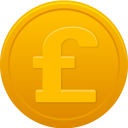 128x128px size png icon of coin pound
