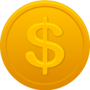 128x128px size png icon of coin us dollar