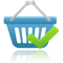 128x128px size png icon of shopping basket accept