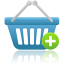 128x128px size png icon of shopping basket add