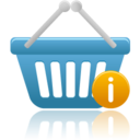 128x128px size png icon of shopping basket info