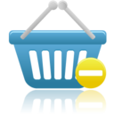 128x128px size png icon of shopping basket prohibit