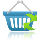 128x128px size png icon of shopping basket refresh