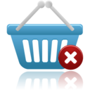 128x128px size png icon of shopping basket remove