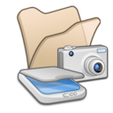 128x128px size png icon of Folder beige scanners cameras