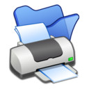 128x128px size png icon of Folder blue printer