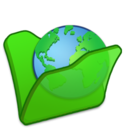 128x128px size png icon of Folder green internet