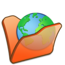 128x128px size png icon of Folder orange internet
