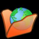 128x128px size png icon of Folder orange internet