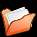 128x128px size png icon of Folder orange mydocuments
