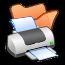 128x128px size png icon of Folder orange printer