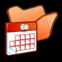 128x128px size png icon of Folder orange scheduled tasks