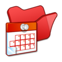 128x128px size png icon of Folder red scheduled tasks