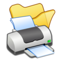 128x128px size png icon of Folder yellow printer