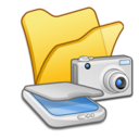 128x128px size png icon of Folder yellow scanners cameras