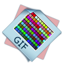 128x128px size png icon of filetype gif