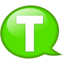 Speech balloon green t Icon