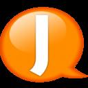 128x128px size png icon of Speech balloon orange j