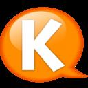 128x128px size png icon of Speech balloon orange k