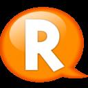 128x128px size png icon of Speech balloon orange r